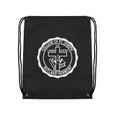 Black Drawstring Backpack-College Seal