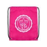 Pink Drawstring Backpack-College Seal