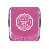 Nylon Pink Bubble Patterned Drawstring Backpack-College Seal