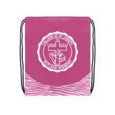 Nylon Zebra Pink/White Patterned Drawstring Backpack-College Seal