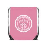 Light Pink Drawstring Backpack-College Seal