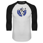 White/Black Raglan Baseball T Shirt-Fighting Saints