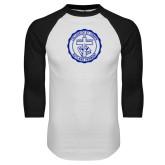 White/Black Raglan Baseball T Shirt-College Seal