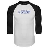White/Black Raglan Baseball T Shirt-College of St. Joseph Wordmark