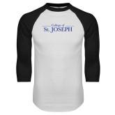White/Black Raglan Baseball T Shirt-College of St. Joseph