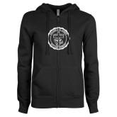 ENZA Ladies Black Fleece Full Zip Hoodie-College Seal