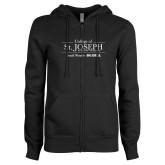 ENZA Ladies Black Fleece Full Zip Hoodie-College of St. Joseph with Slogan