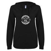ENZA Ladies Black V Notch Raw Edge Fleece Hoodie-College Seal