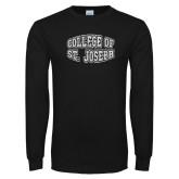 Black Long Sleeve T Shirt-College of St. Joseph Bulge Distressed