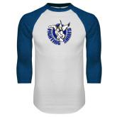 White/Royal Raglan Baseball T Shirt-Fighting Saints