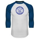 White/Royal Raglan Baseball T Shirt-College Seal