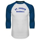 White/Royal Raglan Baseball T Shirt-St. Joseph Baseball