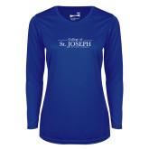 Ladies Syntrel Performance Royal Longsleeve Shirt-College of St. Joseph Wordmark