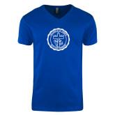 Next Level V Neck Royal T Shirt-College Seal