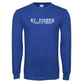 Royal Long Sleeve T Shirt-St. Joseph Fighting Saints Distressed