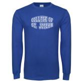 Royal Long Sleeve T Shirt-College of St. Joseph Bulge Distressed