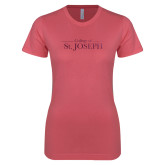 Next Level Ladies SoftStyle Junior Fitted Pink Tee-College of St. Joseph Foil