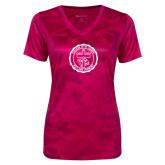 Ladies Pink Raspberry Camohex Performance Tee-College Seal
