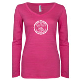 ENZA Ladies Hot Pink Long Sleeve V Neck Tee-College Seal
