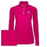 Ladies Pink Raspberry Sport Wick Textured 1/4 Zip Pullover-Fighting Saints
