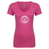 Next Level Ladies Junior Fit Ideal V Pink Tee-College Seal
