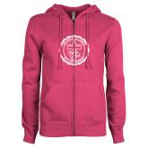 ENZA Ladies Fuchsia Fleece Full Zip Hoodie-College Seal