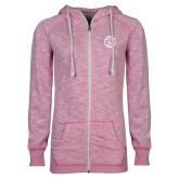 ENZA Ladies Hot Pink Marled Full Zip Hoodie-College Seal