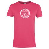 Ladies Fuchsia T Shirt-College Seal