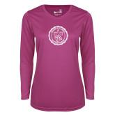 Ladies Syntrel Performance Raspberry Longsleeve Shirt-College Seal