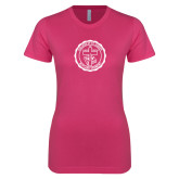 Ladies SoftStyle Junior Fitted Fuchsia Tee-College Seal