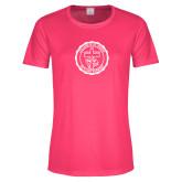 Ladies Performance Hot Pink Tee-College Seal