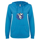 ENZA Ladies Pacific Blue V Notch Raw Edge Fleece Hoodie-Fighting Saints