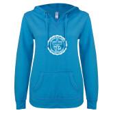 ENZA Ladies Pacific Blue V Notch Raw Edge Fleece Hoodie-College Seal