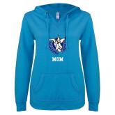 ENZA Ladies Pacific Blue V Notch Raw Edge Fleece Hoodie-Mom