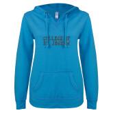 ENZA Ladies Pacific Blue V Notch Raw Edge Fleece Hoodie-F Graphite Soft Glitter