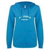ENZA Ladies Pacific Blue V Notch Raw Edge Fleece Hoodie-St. Joseph Basketball