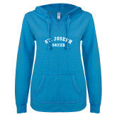 ENZA Ladies Pacific Blue V Notch Raw Edge Fleece Hoodie-St. Joseph Soccer