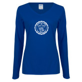 Ladies Royal Long Sleeve V Neck Tee-College Seal