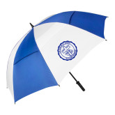 62 Inch Royal/White Vented Umbrella-College Seal