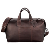 Kenneth Cole Columbian Leather Mahogany Weekender Duffel-Primary Logo Engraved