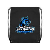 Black Drawstring Backpack-Primary Logo