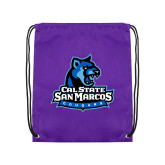 Purple Drawstring Backpack-Primary Logo