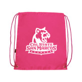 Pink Drawstring Backpack-Primary Logo