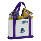 Contender White/Purple Canvas Tote-Primary Logo