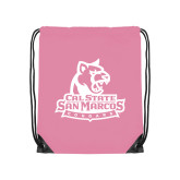 Light Pink Drawstring Backpack-Primary Logo