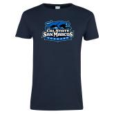 Ladies Navy T Shirt-Secondary Logo