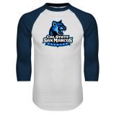White/Navy Raglan Baseball T Shirt-Primary Logo
