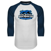 White/Navy Raglan Baseball T Shirt-Secondary Logo