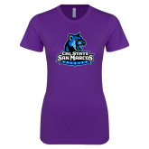 Next Level Ladies SoftStyle Junior Fitted Purple Tee-Primary Logo