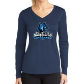 Ladies Syntrel Performance Navy Longsleeve Shirt-Primary Logo